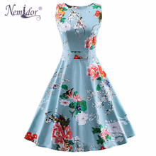 Nemidor 2017 Summer Patchwork Sleeveless Floral Print Swing Dress Casual Bridesmaid Midi Party Vintage Dress