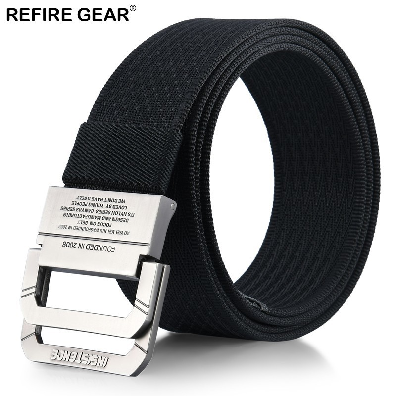 Refire Gear Outdoor Thicken Canvas Belts Men Double Ring Metal Buckle Tactical Waist Belt Male Strap High Quality Belt 120cm