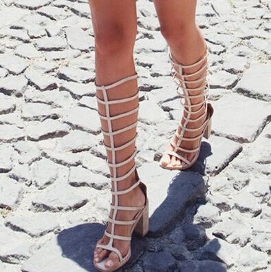 Knee High Cut Out Fashion Gladiator Sandal Boots Nude Chunky ...