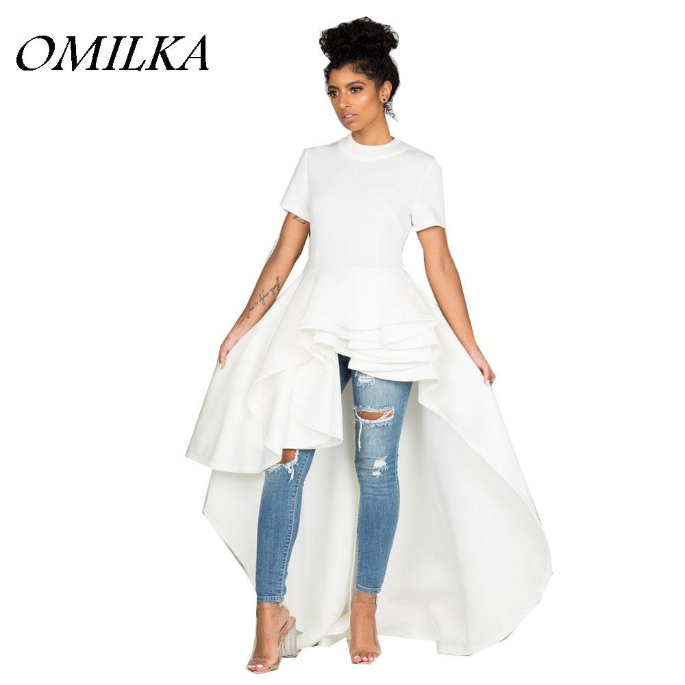 OMILKA 2017 Autumn Winter Women Short Sleeve O Neck Ruffle