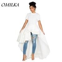OMILKA 2017 Autumn Winter Women Short Sleeve O Neck Ruffle High Low Dress Casual Front Short
