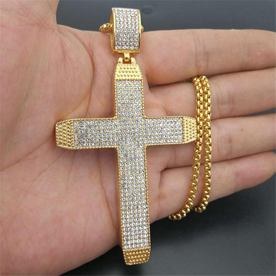 Hip Hop grand croix colliers pendentifs avec chaîne en acier inoxydable bijoux pour hommes couleur or glacé Bling strass collier