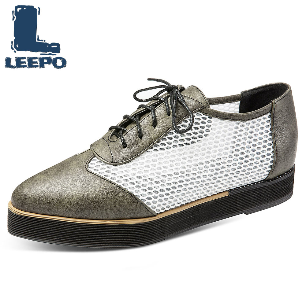 LEEPO plate-forme Oxfords chaussures femme maille à lacets bout pointu Vintage Brogues femmes été Chunky chaussures femme confort appartements
