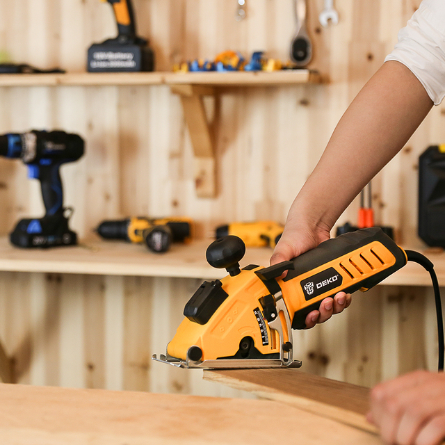 DEKO Mini Circular Saw Power Tools with Laser, 4 Blades, Dust passage, Allen key, Auxiliary handle, BMC BOX Electric Saw 3