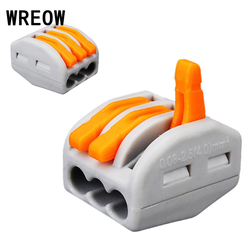 10PCS Reusable Spring Crimp Lever Terminal Block Electric Cable Connector Wire Terminales Electricos Wire Connectors  3Way Pin