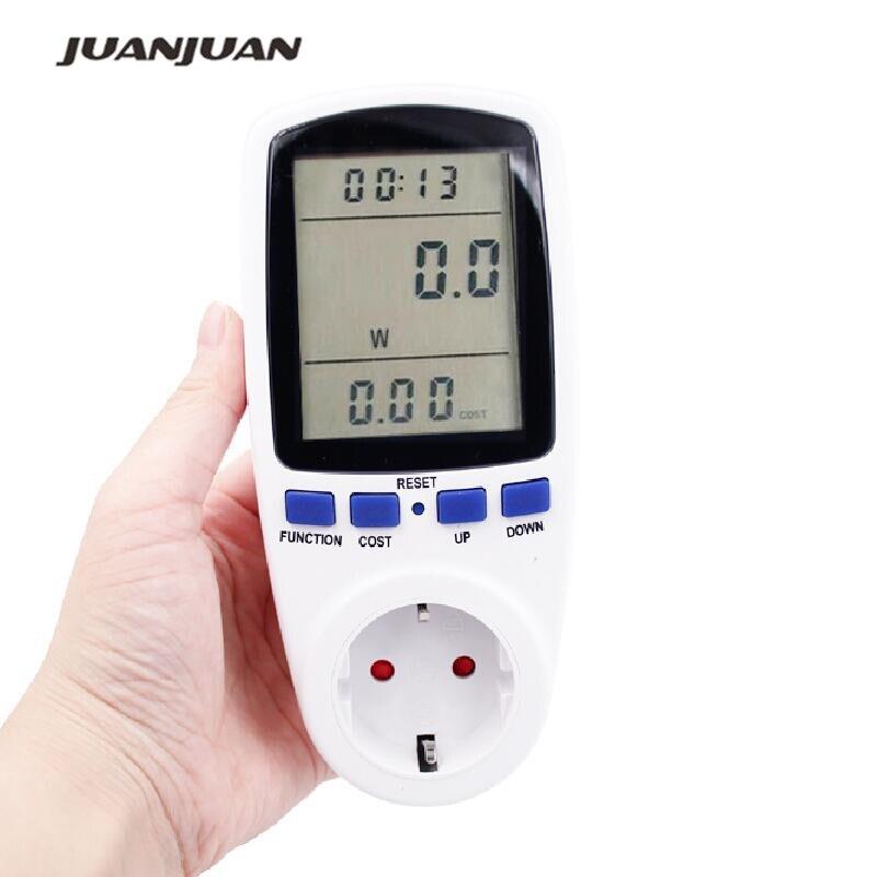 La UE enchufe de alimentación LCD Display 230 V 50Hz 16A voltaje de voltios de Wattmeter Europa pared europea de medición de potencia Socket 45%
