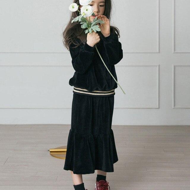 1cabf344d 4-16 Yrs Kids & Teenager Big Girls Black Velour Long Sleeve Blouse Rffule  Fishtail Flare Skirt 2 Pcs Set Children Velvet Clothes
