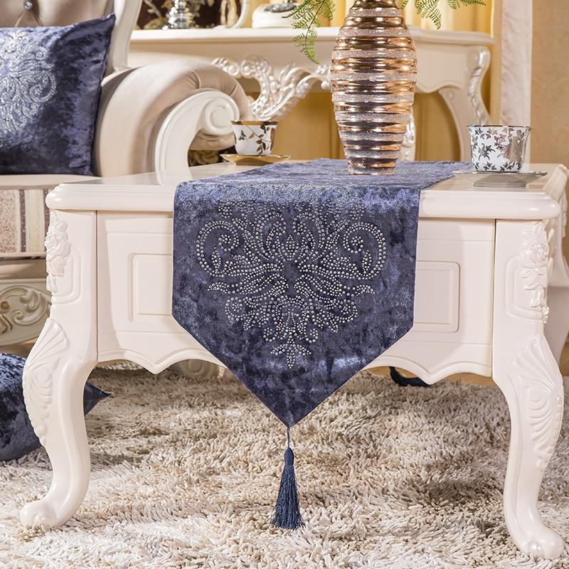 England Upscale Hot drilling Velvet  Elegant Pattern Table flag Home - Home Textile - Photo 2