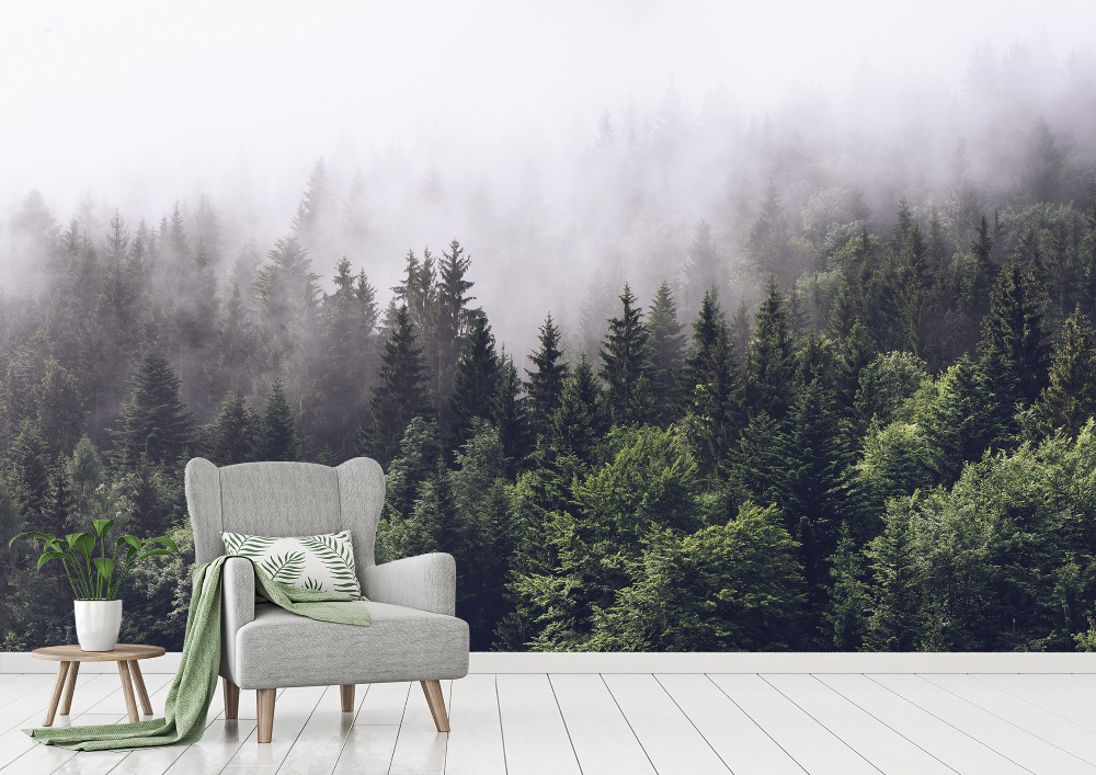 [Self-Adhesive] 3D Fog Green Forest 6 Wall Paper Mural Wall Print Decal Wall Murals