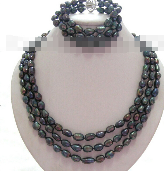 12609 noir baroque perles d'eau douce collier un ensemble (A0516)