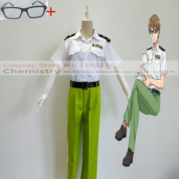 Cells at Work! Helper T Cell Cosplay Costume Shirt,pants,belt,glasses