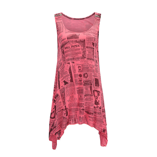 12d740be6e New Fashion Letter Newspaper Print Shirts Women Tee Tops 2018 Casual Summer  Sleeveless Tank Top Floral