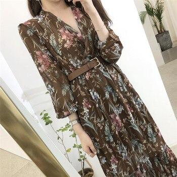 BGTEEVER Elegant V-neck Floral Printed Women Dress Flare Sleeve A-line Female Chiffon Dress 2019 Vintage Women Midi Vestidos 5