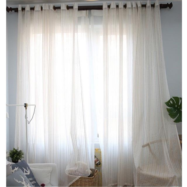 Two Tone Gold Stripe Curtain Panel Shimmer Sheer Voile Grommet Window For Living Room