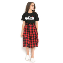Girls' 2019 Summer Clothes for Children Kid Clothes Set Two-piece Casual Letter Print Tee Shirt+Plaid Skirts Outfits 13 14 years printio плюшевый медведь