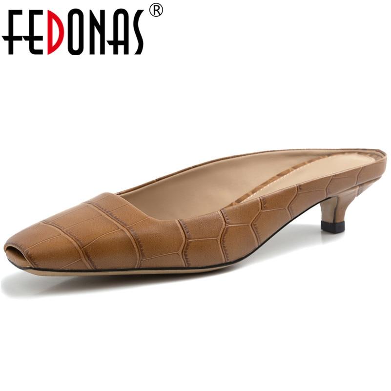 FEDONAS Brand 2019 Summer New Fashion Square Toe Spike Heels Women Pumps Shallow Slip on Elegant