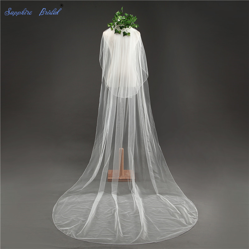 Sapphire Bridal Simple 2 Tiers Cathedral Veils White Ivory Pencil Edge Veils For Brides Veil With Blusher Free Comb
