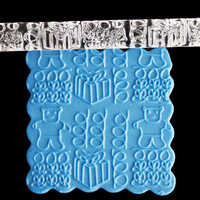 Texturé en relief ours cadeau acrylique rouleaux Fondant gâteau décoration outils de décoration E223