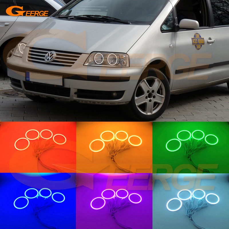 For Volkswagen VW SHARAN 2000-2010 Halogen headlight Excellent Multi-Color Ultra bright RGB LED Angel Eyes kit Halo Rings new 2pcs lot led multi color high bright 360 degree smd demon led halo rings kit devil eye for all car projector headlight