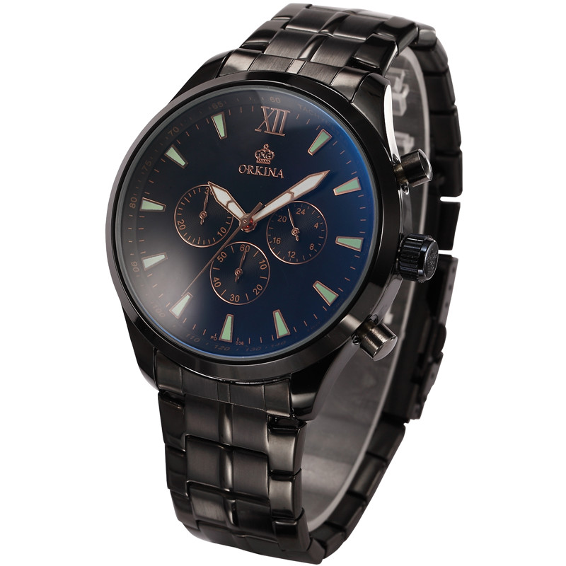 MG. ORKINA Christmas Gifts 30 Minutes Chronograph And 24 Hours Display Stainless Steel Case And Band Zegarek Men Black WatchMG. ORKINA Christmas Gifts 30 Minutes Chronograph And 24 Hours Display Stainless Steel Case And Band Zegarek Men Black Watch