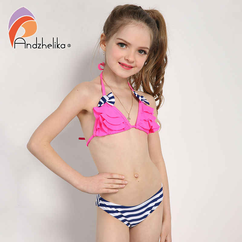 fa2ed7b01f ... Andzhelika 2018 New Bikinis Set Children s Swimsuit Cute Bow Solid  striped Bottom Girls Swimwear Swimming Suit ...