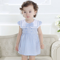 Baby Girls Sailor Costumes Dress Frock Designs For New Born Baby Girl Big Flutter Sleeves Baby