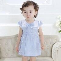 2016 Verano de los Bebés del Vestido de Marinero Ropa de Diseño Azul Claro Vestido de color rosa para Niñas Recién Nacidas Del Bebé Princesa Vestido de Fiesta vestidos