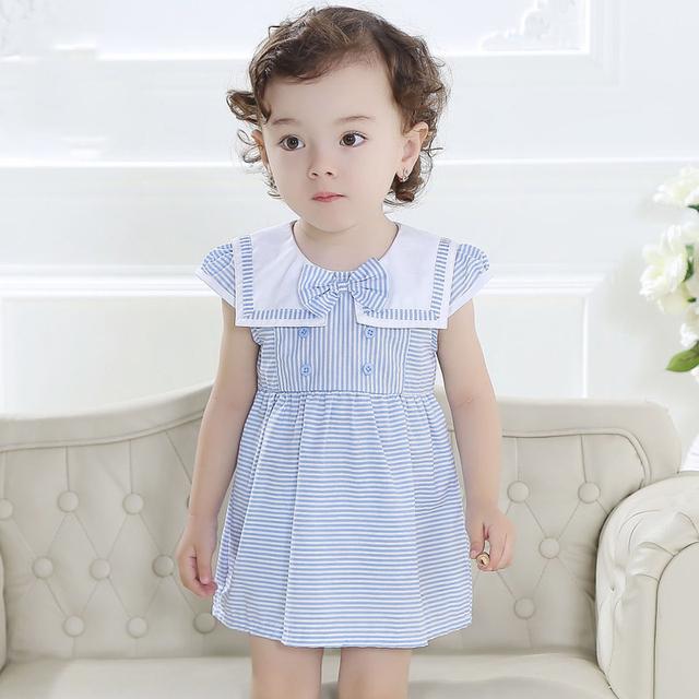 2016 verão do bebê meninas vestido de marinheiro roupas azul de rosa vestido para bebê recém-nascido meninas princesa vestido vestidos