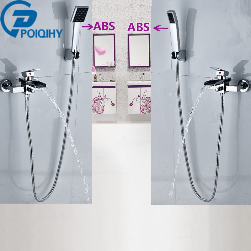 POIQIHY Bathtub Faucets Chrome Finish Wall Mouted Brass Body W/ Hand Shower Tub Faucets Mixer Tap