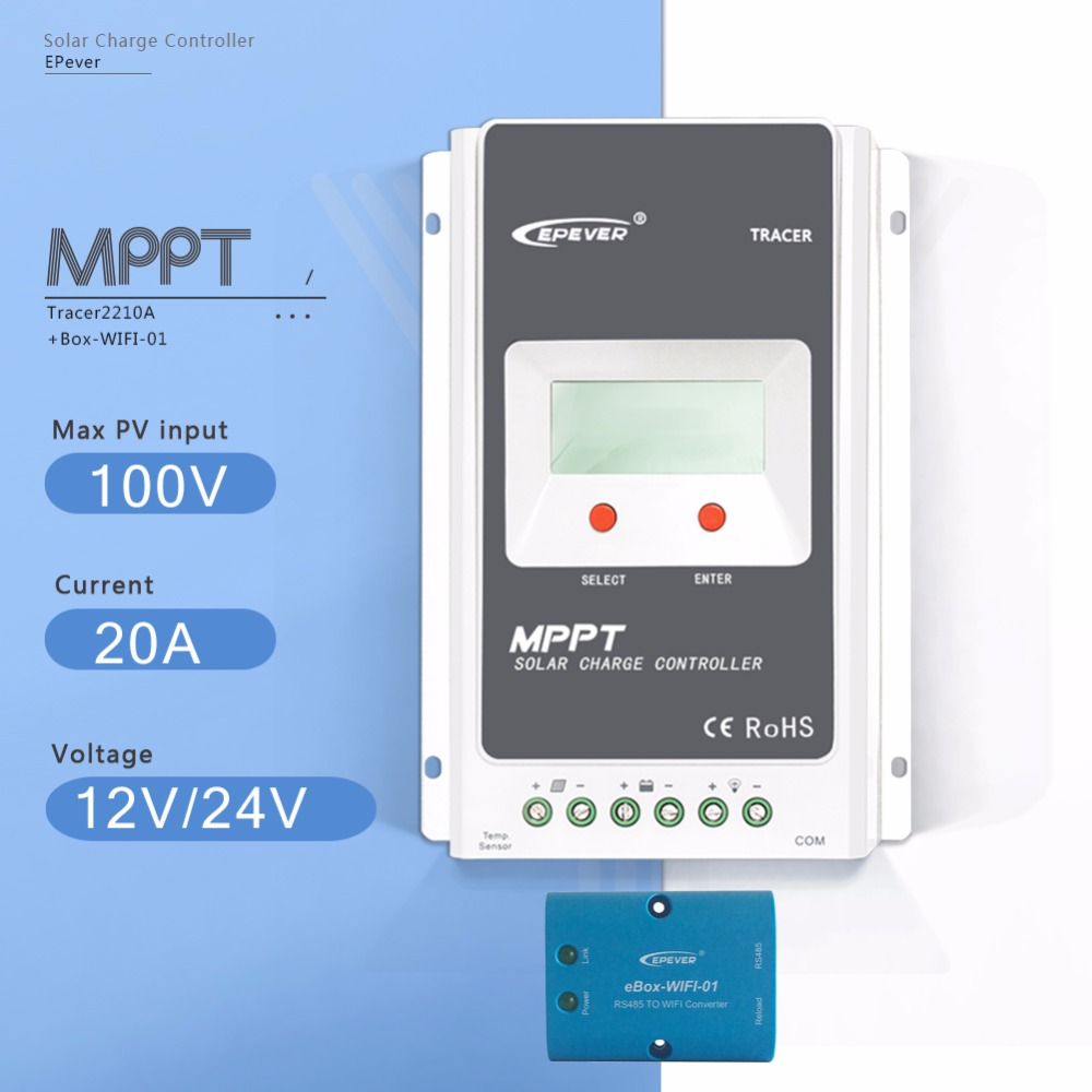 MPPT 20A Tracer 2210A with EBOX-WIFI Solar Charge Controller 12V/24V Auto LCD Display Light and Time Controller PV  Regulator 60a 12v 24v 48v mppt solar charge controller with lcd display and rs232 interface to communicate with computer