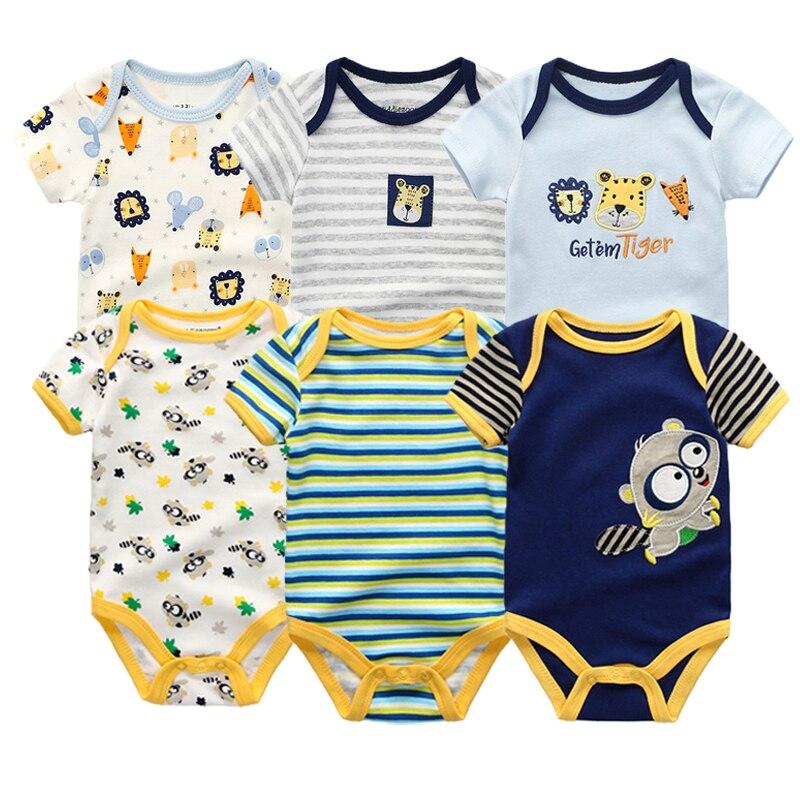 2019 6PCS/Lot Unisex Unicorn Baby Boy Clothes Cotton Kids Clothes Newborn Rompers 0-12M Baby Girl Clothes Roupa de bebe