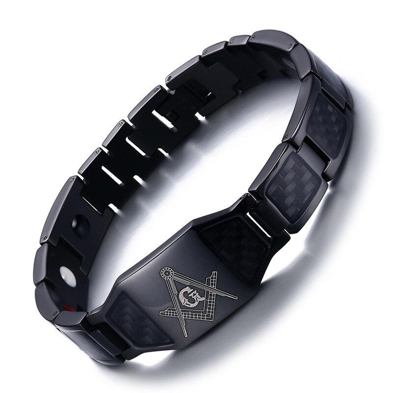 European and American Fashion Bully Men Titanium Steel Bracelet Black Bracelet Single Brand Health Care Jewelry