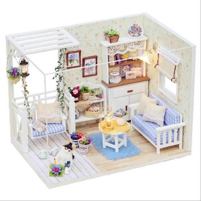 77eba5f66745e3 DIY 3D En Bois Miniaturas Puzzle Maison de Poupée Meubles Miniature  Poussière Couverture Dollhouse Pour Barbie