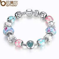 11 11 Aliexpress 925 Sterling Silver Heart Start Crystals LOVE Colorful Girl Murano Beads Bracelet For