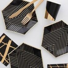 Arany Fekete Eldobható Asztali készletek Aranyfólia Papírtálca Csészék Szalvéta Szórakoztató Fesztivál Születésnapi Félkészítéshez