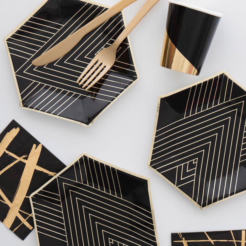 골드 블랙 일회용 식기 세트 골드 호일 종이 접시 컵 - 휴일 파티 용품