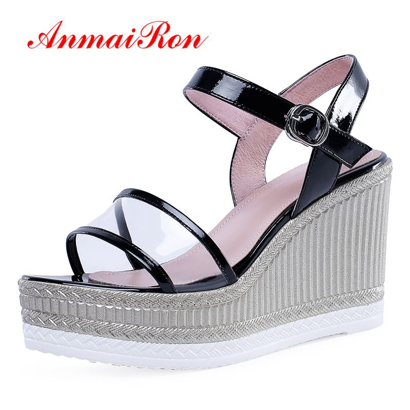 ANMAIRON   Genuine Leather  Gladiator Wedges Shoes for Women High Heel Summer Fashion Solid  Shoes Women Size 34-39 LY1451ANMAIRON   Genuine Leather  Gladiator Wedges Shoes for Women High Heel Summer Fashion Solid  Shoes Women Size 34-39 LY1451