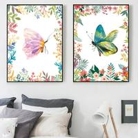 AtFipan 2 Panel Unframed Minimalisme Wall Art Print Nordic Posters Butterfly Animal Canvas Painting For Baby Room Drop Shipping