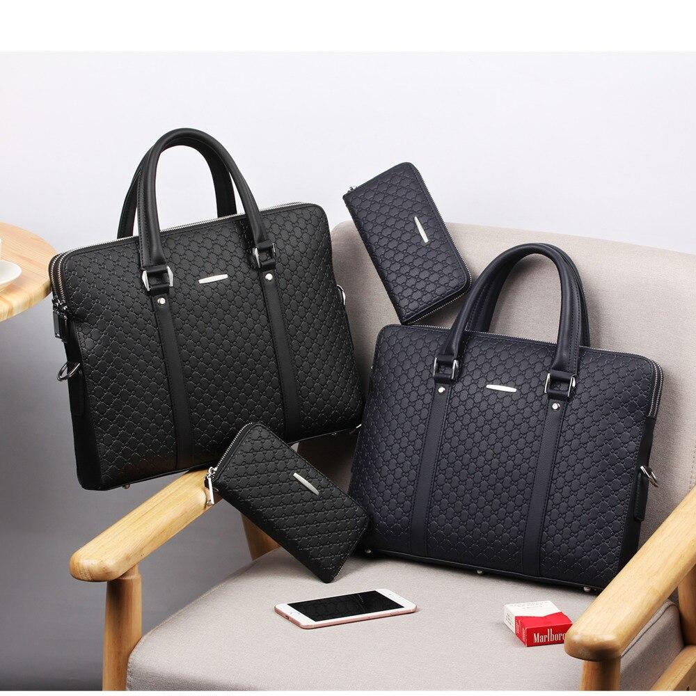 Nouveau Double couches hommes en cuir mallette d'affaires décontracté homme sac à bandoulière sac de messager hommes ordinateurs portables sacs à main hommes sacs de voyage - 3