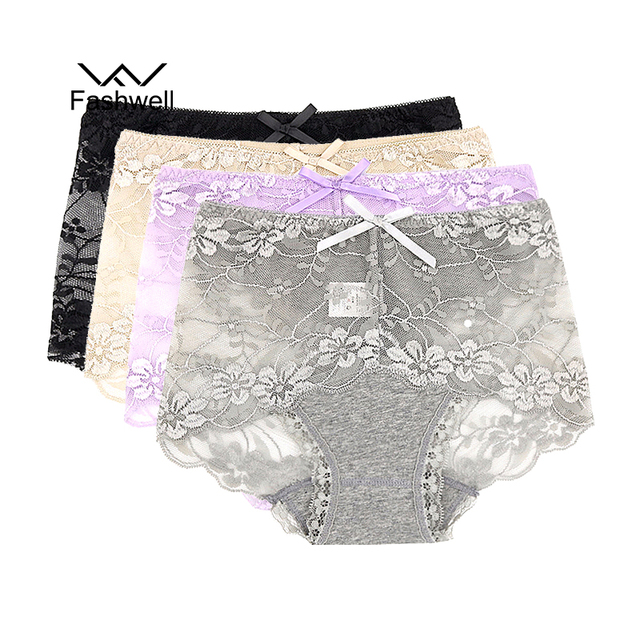 Fashwell Women's Lace Panties Women Sexy Underwear Briefs breathable Hollow Transparent Panties briefs 4pcs/lot