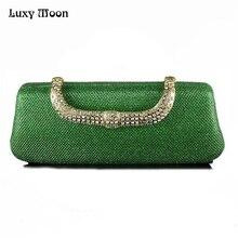 Einzigartige Grün Kupplung Luxus Diamant Abendtasche Mit Kristallen Verschluss Handtasche Knödel ShapeClutches Elegante Brautjungfer Handtasche ZD271