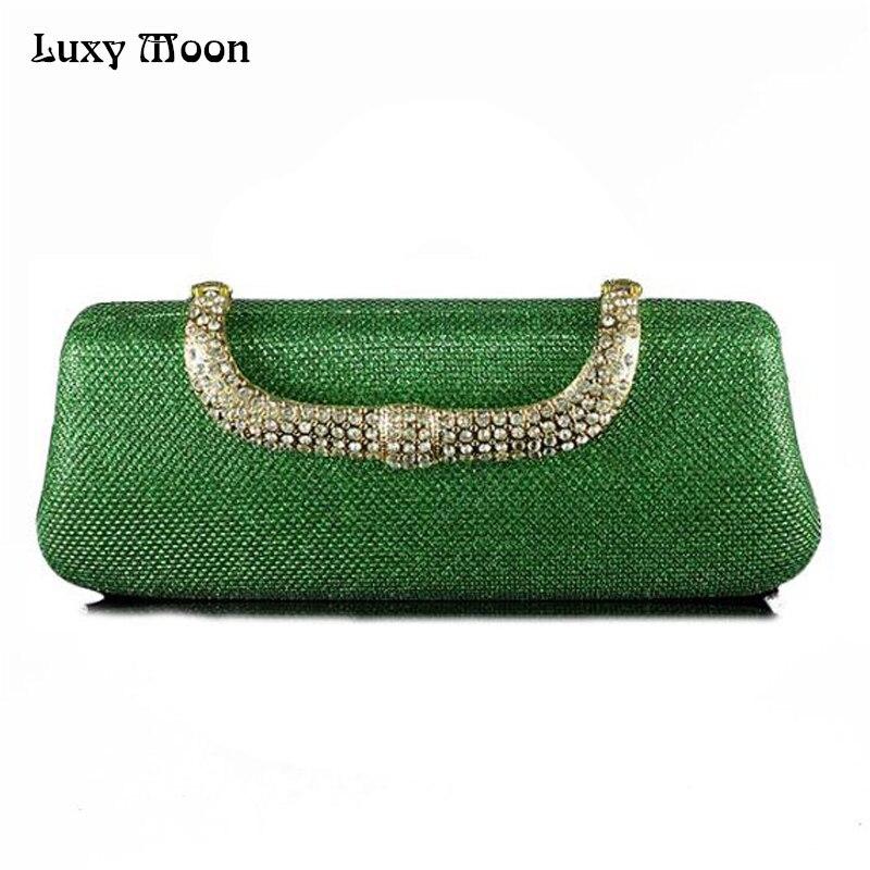 Verde único Embrague Bolso de Tarde del Diamante de Lujo Con Cristales Broche Mo