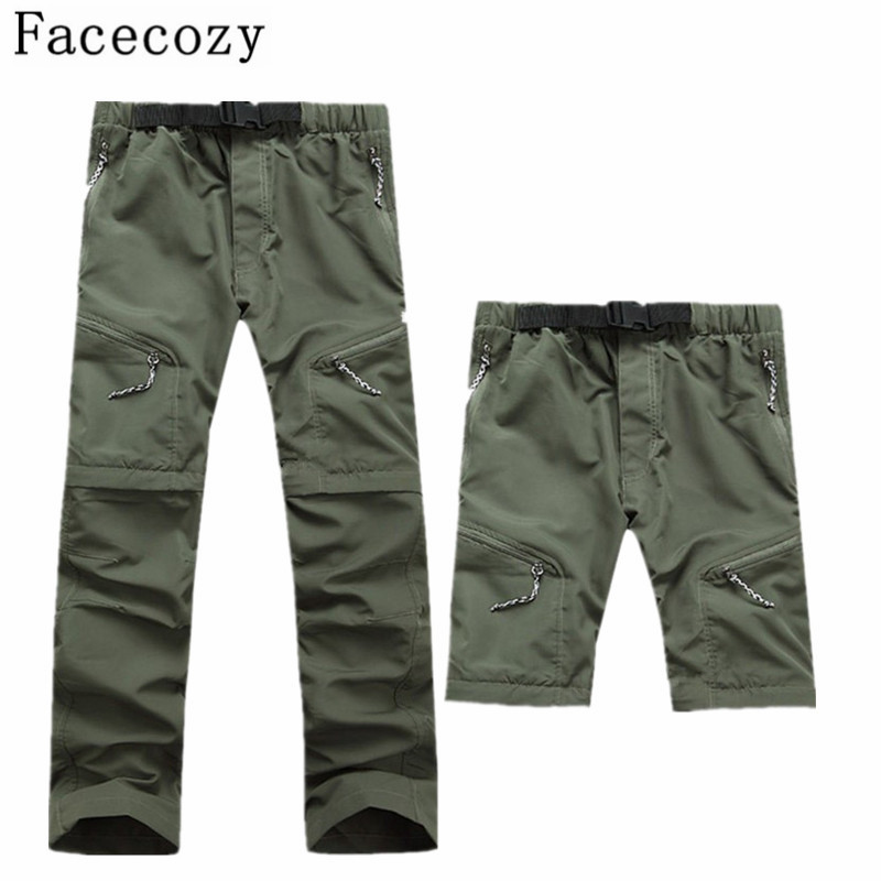 Facecozy Men Spring&Summer Outdoor Camping Hiking Pants  Quick-Dry Trekking Fishing Shorts Active Removable Breathable Trousers