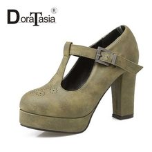 DoraTasia Big Size 32-42 Sexy Women Gladiator T straps Square High Heel Shoes Spring Autumn Party Wedding Platform Pumps