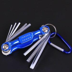 Image 4 - מתקפל Hex ברגים מתכת מטרי אלן ברגים סט משושה מברג Hex מפתח ברגים אלן מפתחות יד כלי סט נייד עם