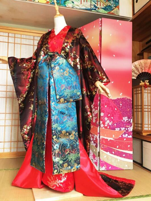 Japanese Custom Made Kimono Fashion Plum Flower Costume Beautiful Woman Sexy Dress Performance Kimono Woman Shoot Clothing