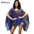 Chiffon Shirts 6XL Plus Size Women 2017 New Style Batwing Floral Print Summer Tops Women's Casual Blouses Blusas Femininas