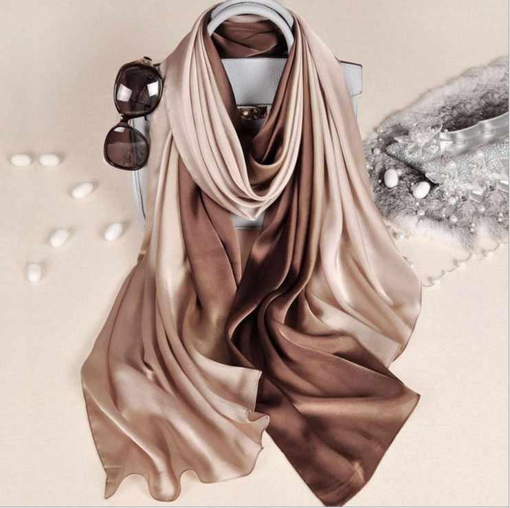 Desain Baru Merek Mewah Sutra Musim Panas Syal Gradien Pewarna Celup Wanita Muslim Jilbab Selendang Panjang Lembut Wrap