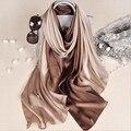 Nuevo diseño de la marca de lujo de seda bufanda de verano gradiente Dip dye mujer musulmán Hijab chal largo suave abrigo