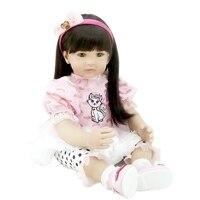55cm/22 Lifelike Reborn Kitty Dress Girl Dolls Silicone Vinyl Handmade Headband Baby Toy Collection